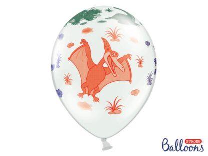 Balon lateksowy z rysunkiem pomarańczowego dinozaura