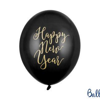 """Czarny balon lateksowy z napisem """"Happy New Year"""""""