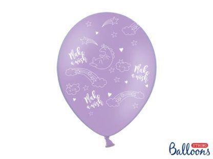Fioletowy balon lateksowy z motywem jednorożca