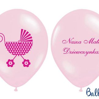 """Różowy balon lateksowy ze wzorem na baby shower i napisem """"nasza mała dziewczynka"""""""