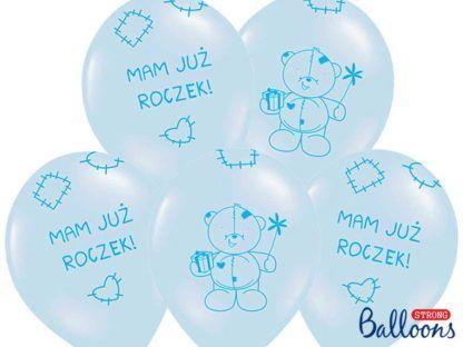 Zestaw niebieskich balonów lateksowych na pierwsze urodziny