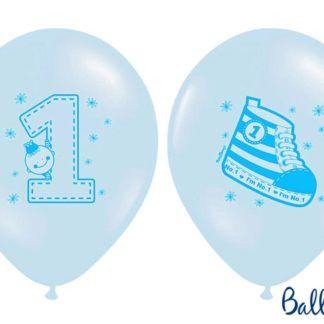 Niebieski balon z rysunkami na pierwsze urodziny