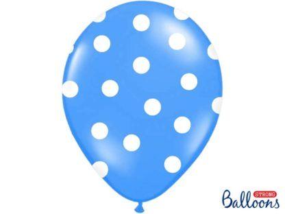 Niebieski balon lateksowy w białe kropki