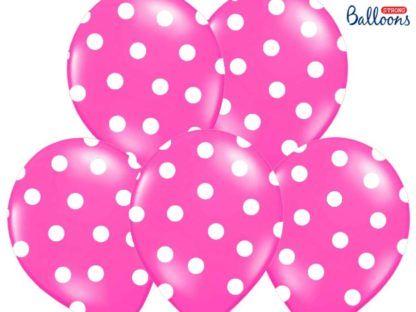 Zestaw różowych balonów lateksowych w białe kropki