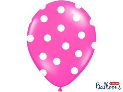 Różowy balon lateksowy w białe kropki
