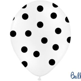 Biały balon lateksowy w czarne kropki