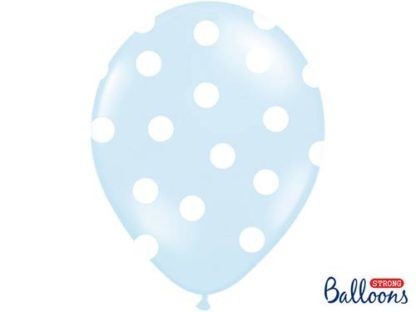 Błękitny balon lateksowy z białymi kropkami