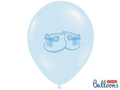 Niebieski balon lateksowy z bucikami