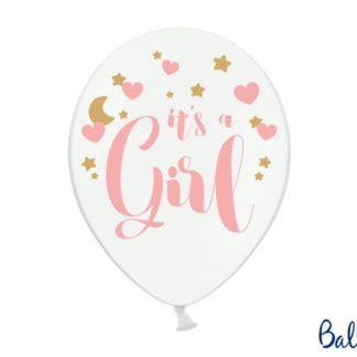 """Biały balon lateksowy z napisem """"it's a girl"""""""