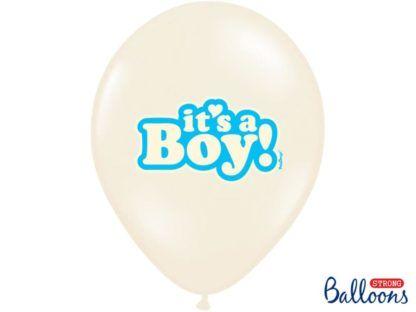 """Biały balon lateksowy z napisem """"it's a boy"""""""