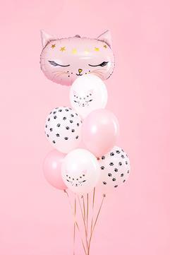 Zestaw balonów lateksowych i foliowych z motywem kotka