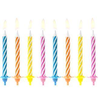 Zestaw świeczek na tort w kolorowe paski