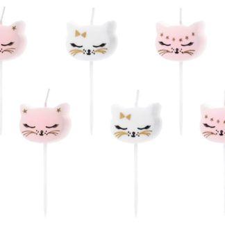 Świeczki na tort w kształcie kotków