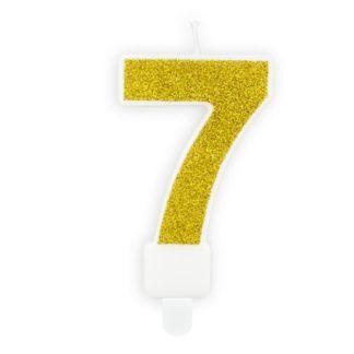 Złota świeczka na tort w kształcie cyfry 7