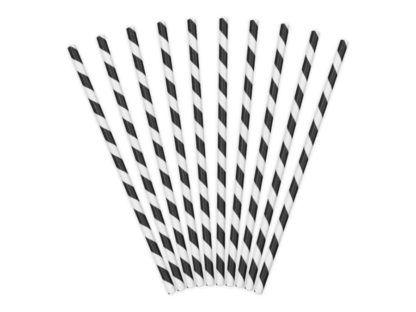 Zestaw słomek papierowych w czarno-białe paski
