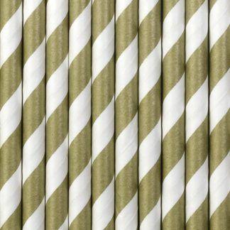 słomki papierowe w złoto-białe paski