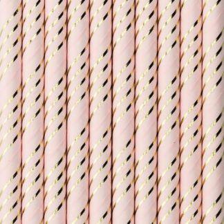Różowe słomki papierowe ze złotymi paskami