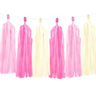 Girlanda z frędzli w kolorze pastelowego różu