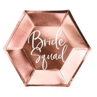 """Różowy talerzyk z napisem """"bride squad"""""""
