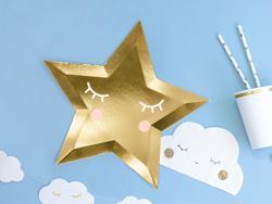 Talerzyk papierowym w kształcie gwiazdki i kubeczek papierowy