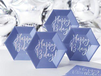 Granatowe talerzyki urodzinowe