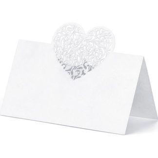 Biała wizytówka na stół z sercem