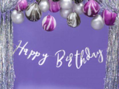 Srebrna girlanda urodzinowa i balony