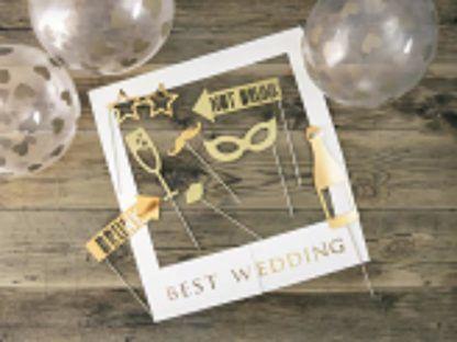 Zestaw do zdjęć na ślub i ramka ze złotym napisem