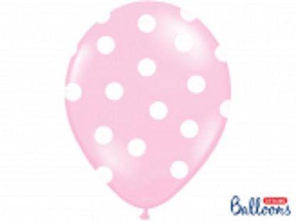 Różowy balon lateksowy z białymi kropkami