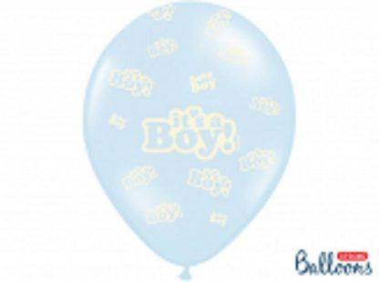 """Niebieski balon lateksowy z napisem """"it's a boy"""""""