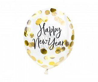 "Balon lateksowy z konfetti i napisem ""Happy New Year"""