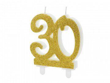 Złota świeczka na tort w kształcie liczby 30