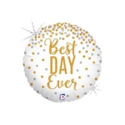 """Biały balon foliowy z napisem """"best day ever"""""""