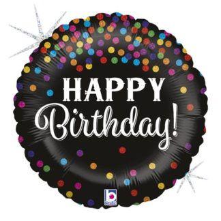 Czarny balon foliowy w kolorowe kropeczki na urodziny