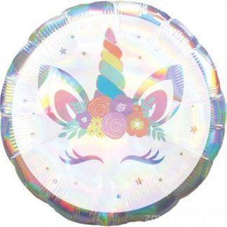 Okrągły balon foliowy z motywem jednorożca