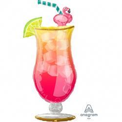 Balon foliowy w kształcie różowego drinka