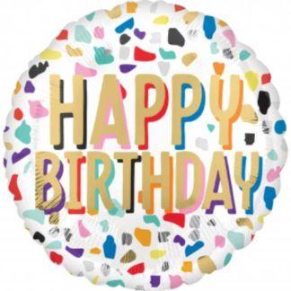 """Okrągły balon foliowy ze wzorkiem i napisem """"happy birthday"""""""