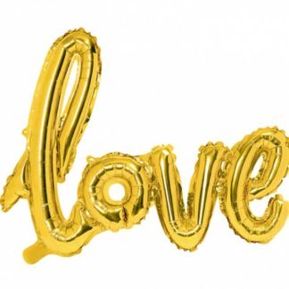 """Złoty balon w kształcie napisu """"love"""""""