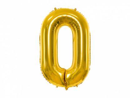 Złoty balon foliowy w kształcie cyfry 0