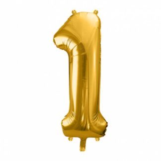 Złoty balon foliowy w kształcie cyfry 1