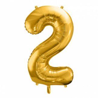Złoty balon foliowy w kształcie cyfry 2
