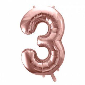 Różowe złoto balon foliowy w kształcie cyfry 3