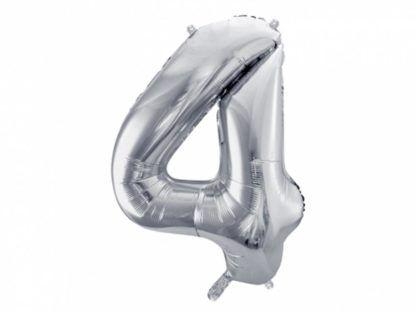 Srebrny balon foliowy w kształcie cyfry 4