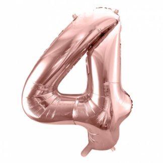 Różowe złoto balon foliowy w kształcie cyfry 4