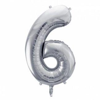 Srebrny balon foliowy w kształcie cyfry 6