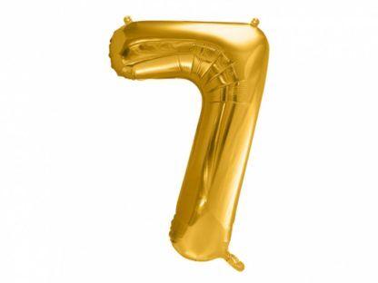 Złoty balon foliowy w kształcie cyfry 7