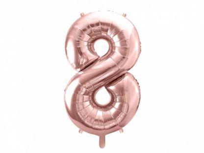 Różowe złoto balon foliowy w kształcie cyfry 8