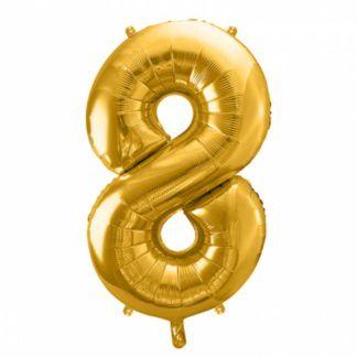 Złoty balon foliowy w kształcie cyfry 8