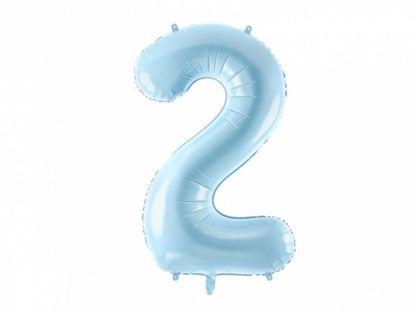 Niebieski balon foliowy w kształcie cyfry 2