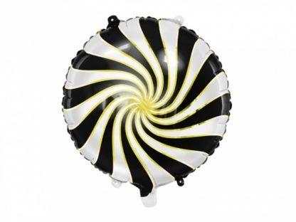 Czarno-złoty balon foliowy w kształcie cukierka